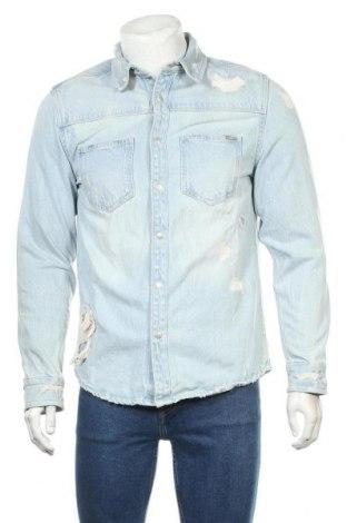 Мъжка риза Zara, Размер M, Цвят Син, Памук, Цена 39,00лв.
