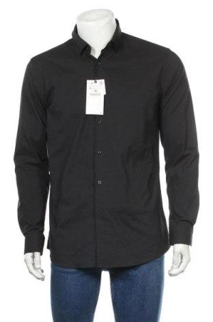 Мъжка риза Zara, Размер L, Цвят Черен, 93% полиестер, 7% еластан, Цена 39,00лв.