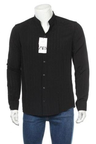 Мъжка риза Zara, Размер M, Цвят Черен, 66% вискоза, 34% полиестер, Цена 36,00лв.