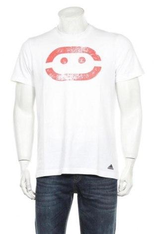 Мъжка тениска Adidas, Размер M, Цвят Бял, 60% памук, 40% полиестер, Цена 21,00лв.