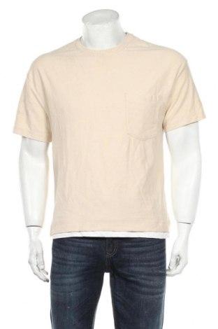 Мъжка тениска Zara, Размер S, Цвят Бежов, Памук, Цена 24,00лв.