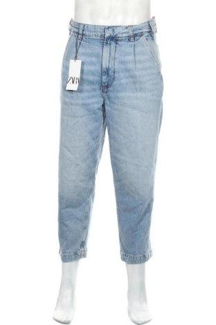 Мъжки дънки Zara, Размер M, Цвят Син, 99% памук, 1% еластан, Цена 51,75лв.