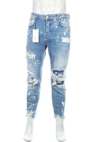Мъжки дънки Zara, Размер L, Цвят Син, 99% памук, 1% еластан, Цена 51,75лв.