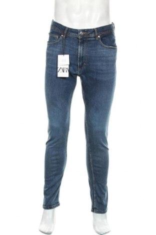 Мъжки дънки Zara, Размер M, Цвят Син, 98% памук, 2% еластан, Цена 44,25лв.