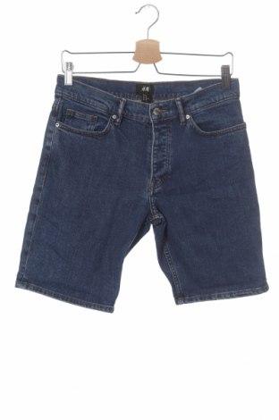 Мъжки къс панталон H&M, Размер S, Цвят Син, 98% памук, 2% еластан, Цена 17,25лв.