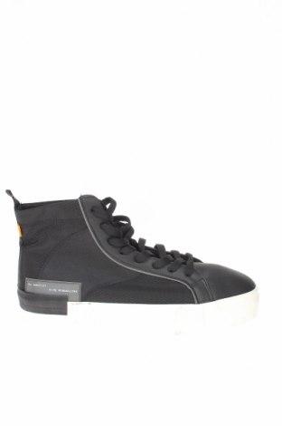 Ανδρικά παπούτσια Bershka, Μέγεθος 44, Χρώμα Μαύρο, Κλωστοϋφαντουργικά προϊόντα, δερματίνη, Τιμή 16,88€