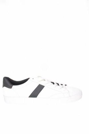 Ανδρικά παπούτσια Bershka, Μέγεθος 45, Χρώμα Λευκό, Δερματίνη, Τιμή 19,16€