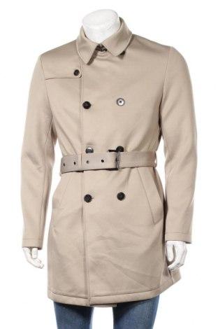 Мъжки шлифер Zara Man, Размер M, Цвят Бежов, 95% полиестер, 5% еластан, Цена 58,80лв.