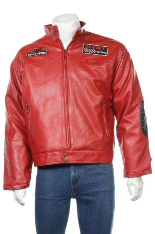 Geacă de piele pentru bărbati, Mărime XL, Culoare Roșu, Piele ecologică, Preț 180,38 Lei