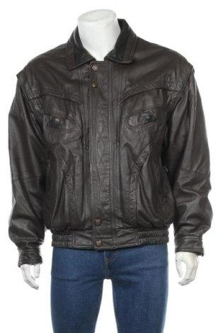 Мъжко кожено яке, Размер L, Цвят Кафяв, Естествена кожа, Цена 32,71лв.