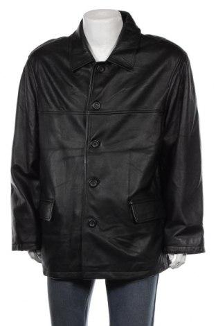 Мъжко кожено яке Angelo Litrico, Размер XXL, Цвят Черен, Естествена кожа, Цена 33,86лв.