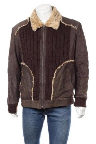 Мъжко кожено яке Angelo Litrico, Размер XL, Цвят Кафяв, Естествен велур, акрил, полиестер, Цена 43,47лв.