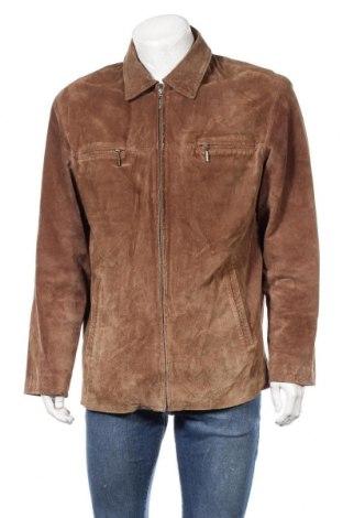 Мъжко кожено яке Angelo Litrico, Размер L, Цвят Кафяв, Естествен велур, Цена 45,05лв.