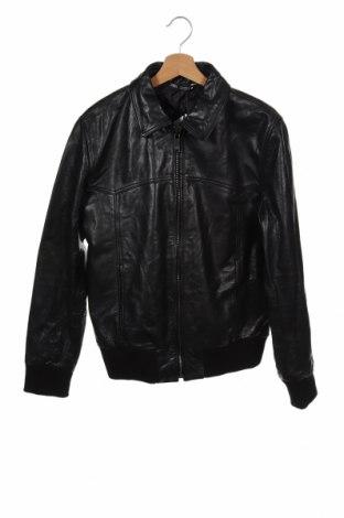Ανδρικό δερμάτινο μπουφάν Zara, Μέγεθος L, Χρώμα Μαύρο, Γνήσιο δέρμα, Τιμή 88,53€