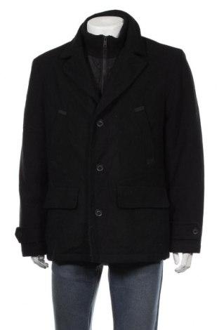 Мъжко палто Angelo Litrico, Размер L, Цвят Черен, 60% вълна, 40% полиестер, Цена 32,92лв.