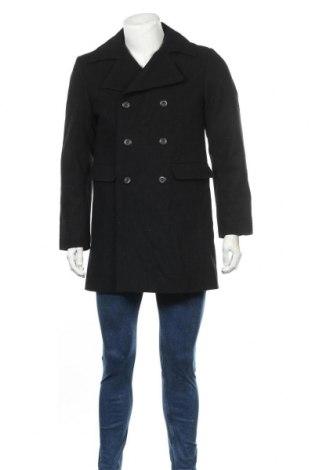 Мъжко палто Angelo Litrico, Размер M, Цвят Черен, 75% вълна, 16% полиестер, 9% вискоза, Цена 38,22лв.