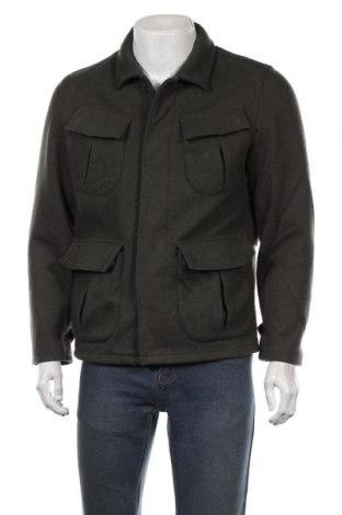 Мъжко палто Mango, Размер S, Цвят Зелен, 52% вълна, 44% полиестер, 3% акрил, 1% полиамид, Цена 40,95лв.