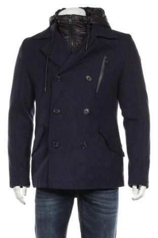 Мъжко палто Q/S by S.Oliver, Размер M, Цвят Син, 50% полиестер, 30% вълна, 20% вискоза, Цена 186,75лв.