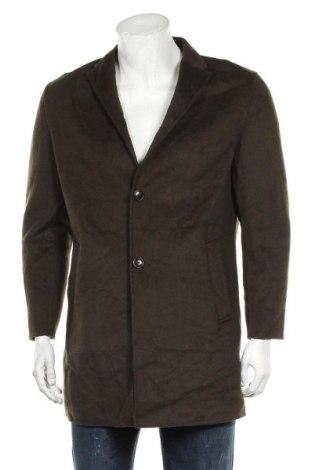 Мъжко палто Zara, Размер M, Цвят Зелен, 49% вълна, 44% полиестер, 7% други нишки, Цена 41,16лв.