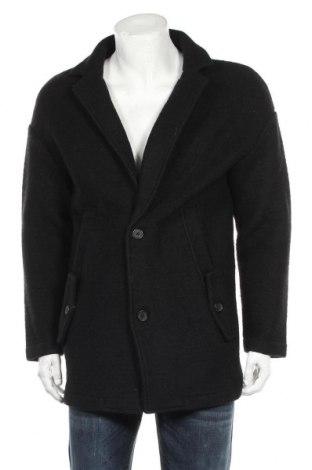 Мъжко палто Zara, Размер M, Цвят Черен, 60% вълна, 27% полиестер, 13% акрил, Цена 37,38лв.