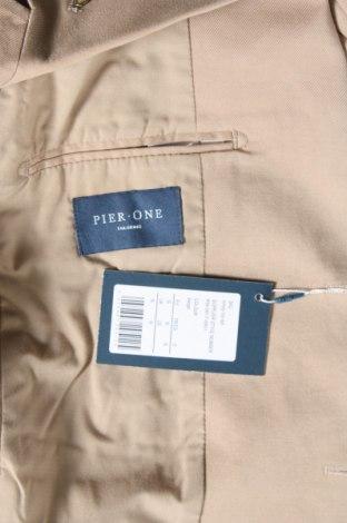 Мъжко сако Pier One, Размер S, Цвят Бежов, 98% памук, 2% еластан, Цена 43,61лв.