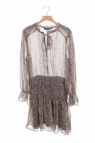 Рокля Zara, Размер XS, Цвят Кафяв, 99% полиестер, 1% метални нишки, Цена 44,25лв.