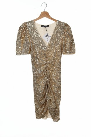 Φόρεμα Zara, Μέγεθος S, Χρώμα Χρυσαφί, 95% πολυεστέρας, 5% ελαστάνη, Τιμή 30,54€