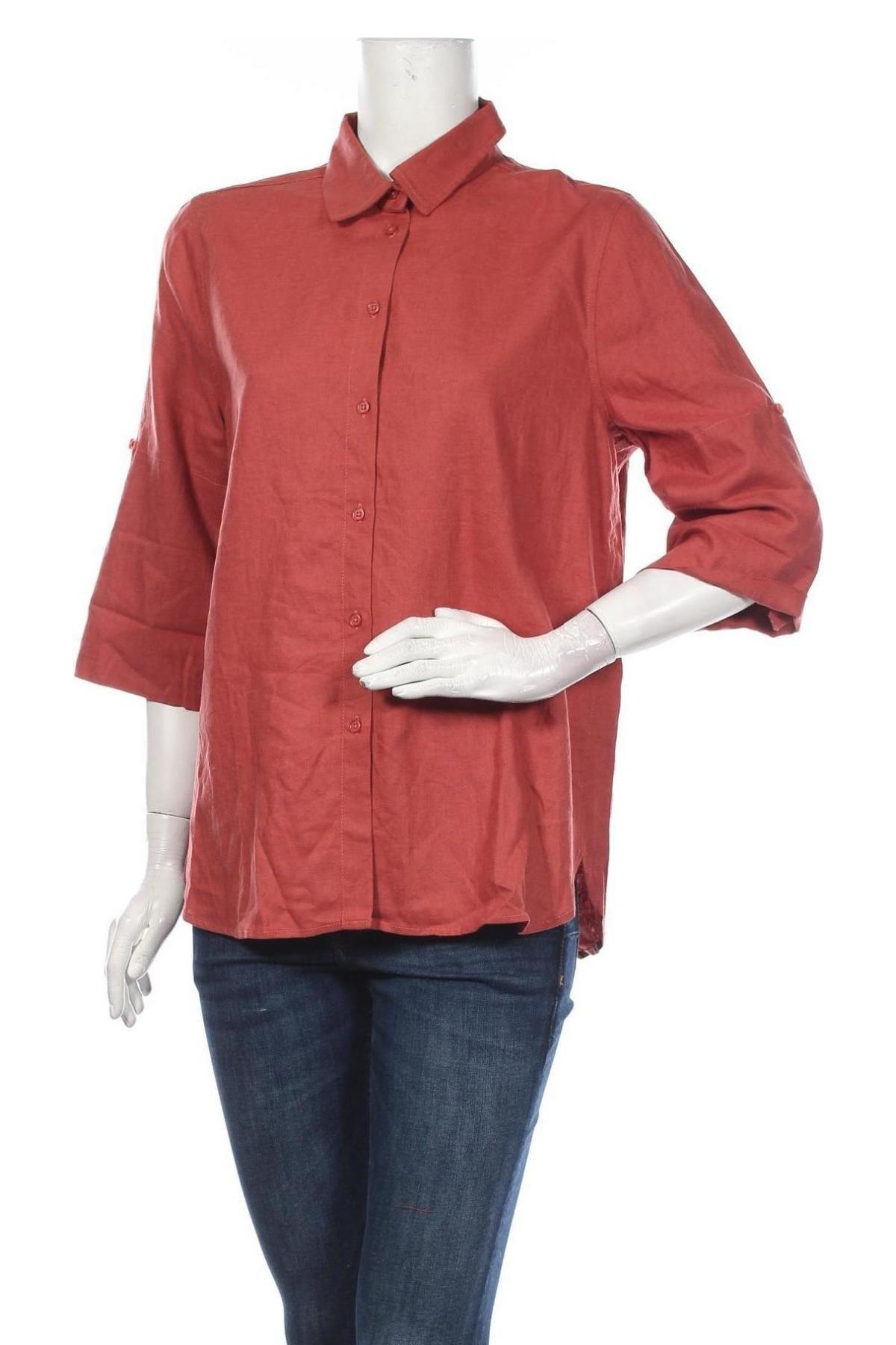 Дамска риза Soaked In Luxury, Размер M, Цвят Оранжев, 55% лен, 45% вискоза, Цена 40,02лв.