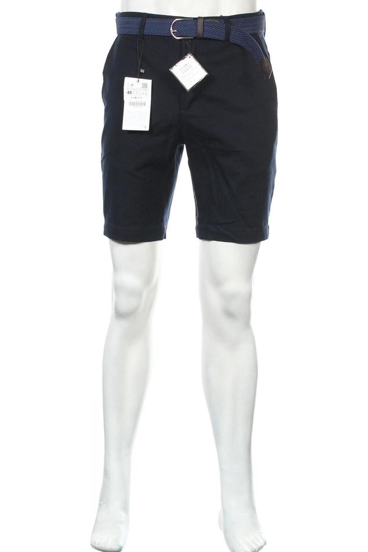 Ανδρικό κοντό παντελόνι Zara, Μέγεθος M, Χρώμα Μπλέ, 98% βαμβάκι, 2% ελαστάνη, Τιμή 18,95€