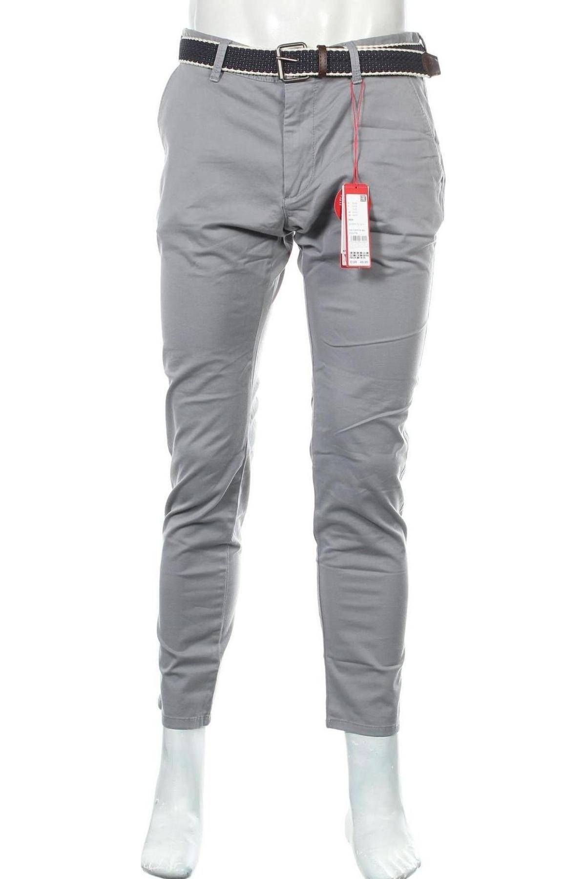 Мъжки панталон S.Oliver, Размер L, Цвят Сив, 98% памук, 2% еластан, Цена 66,75лв.