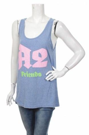 Γυναικείο αμάνικο μπλουζάκι American Apparel, Μέγεθος L, Χρώμα Μπλέ, 50% πολυεστέρας, 25% βαμβάκι, 25% βισκόζη, Τιμή 5,38€