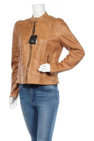 Damska kurtka skórzana Massimo Dutti, Rozmiar L, Kolor Brązowy, Skóra naturalna, Cena 550,88zł