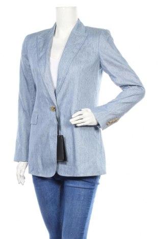 Дамско сако Massimo Dutti, Размер M, Цвят Син, 57% лен, 43% памук, Цена 105,47лв.