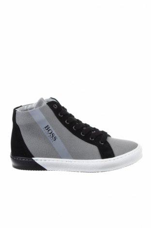 Παιδικά παπούτσια Hugo Boss, Μέγεθος 33, Χρώμα Γκρί, Κλωστοϋφαντουργικά προϊόντα, γνήσιο δέρμα, Τιμή 90,13€