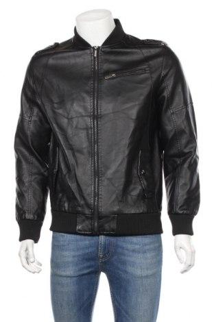 Мъжко кожено яке, Размер M, Цвят Черен, Еко кожа, Цена 25,39лв.