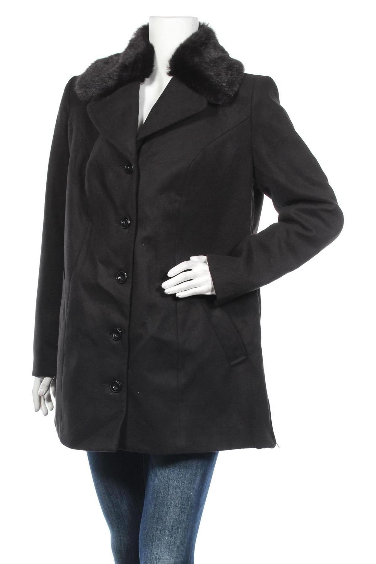 Дамско палто Bpc Bonprix Collection, Размер XXL, Цвят Черен, 88% полиестер, 10% вискоза, 2% еластан, Цена 45,14лв.