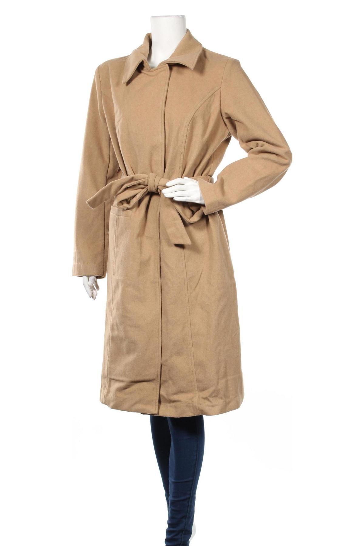 Дамско палто Maite Kelly by Bonprix, Размер XL, Цвят Бежов, 95% полиестер, 5% вълна, Цена 25,80лв.