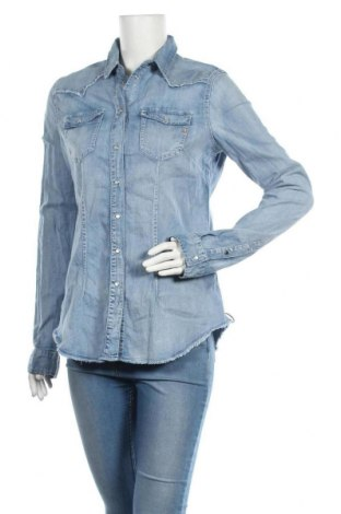 Дамска кожена риза Replay, Размер L, Цвят Син, 98% памук, 2% еластан, Цена 91,50лв.