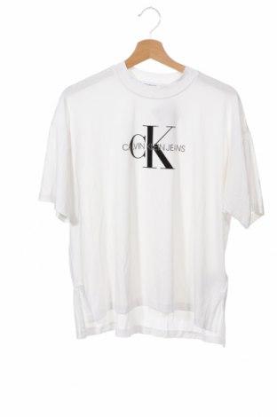 Γυναικείο t-shirt Calvin Klein Jeans, Μέγεθος XS, Χρώμα Λευκό, 67% μοντάλ, 28% πολυεστέρας, 5% ελαστάνη, Τιμή 22,81€