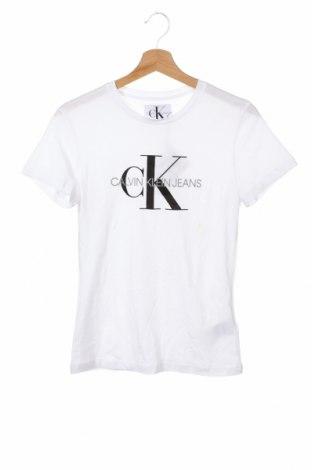 Дамска тениска Calvin Klein Jeans, Размер XS, Цвят Бял, Памук, Цена 51,75лв.