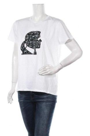Γυναικείο t-shirt Karl Lagerfeld, Μέγεθος XL, Χρώμα Λευκό, Βαμβάκι, Τιμή 65,33€
