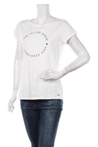 Дамска тениска Tom Tailor, Размер XL, Цвят Бял, 100% памук, Цена 29,25лв.