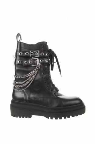 Γυναικεία μποτάκια Zara, Μέγεθος 38, Χρώμα Μαύρο, Γνήσιο δέρμα, Τιμή 30,45€