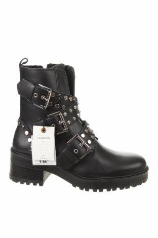 Дамски боти Zara, Размер 39, Цвят Черен, Естествена кожа, Цена 89,25лв.