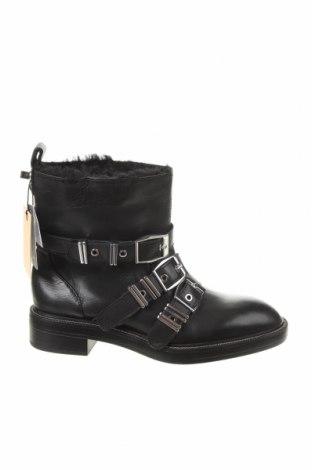 Γυναικεία μποτάκια Zara, Μέγεθος 37, Χρώμα Μαύρο, Γνήσιο δέρμα, Τιμή 35,83€