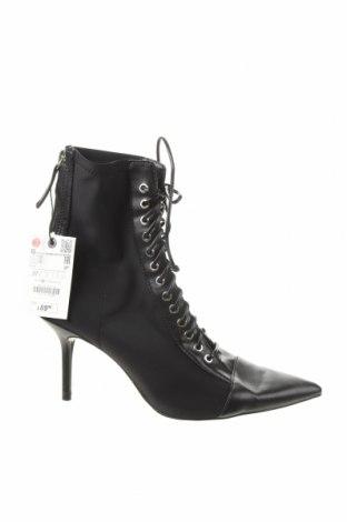 Дамски боти Zara, Размер 37, Цвят Черен, Текстил, еко кожа, Цена 66,75лв.