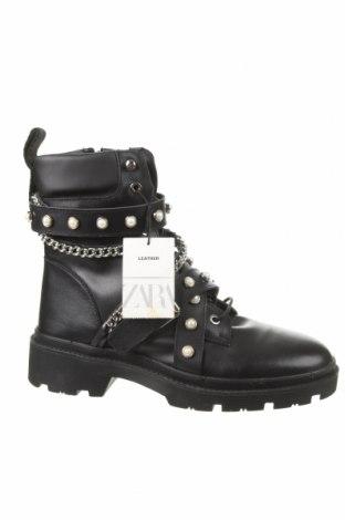 Дамски боти Zara, Размер 41, Цвят Черен, Естествена кожа, Цена 89,25лв.