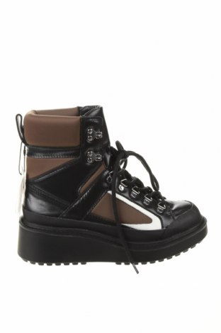 Γυναικεία μποτάκια Zara, Μέγεθος 38, Χρώμα Μαύρο, Γνήσιο δέρμα, κλωστοϋφαντουργικά προϊόντα, Τιμή 42,14€