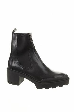 Дамски боти Zara, Размер 41, Цвят Черен, Еко кожа, текстил, Цена 73,50лв.