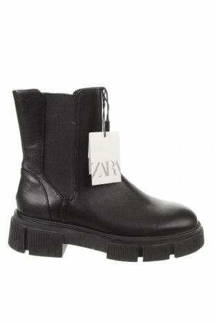 Γυναικεία μποτάκια Zara, Μέγεθος 38, Χρώμα Μαύρο, Γνήσιο δέρμα, Τιμή 49,87€